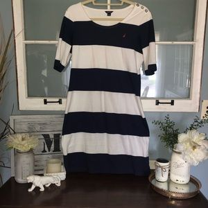 Nautica body icon dress navy and white striped